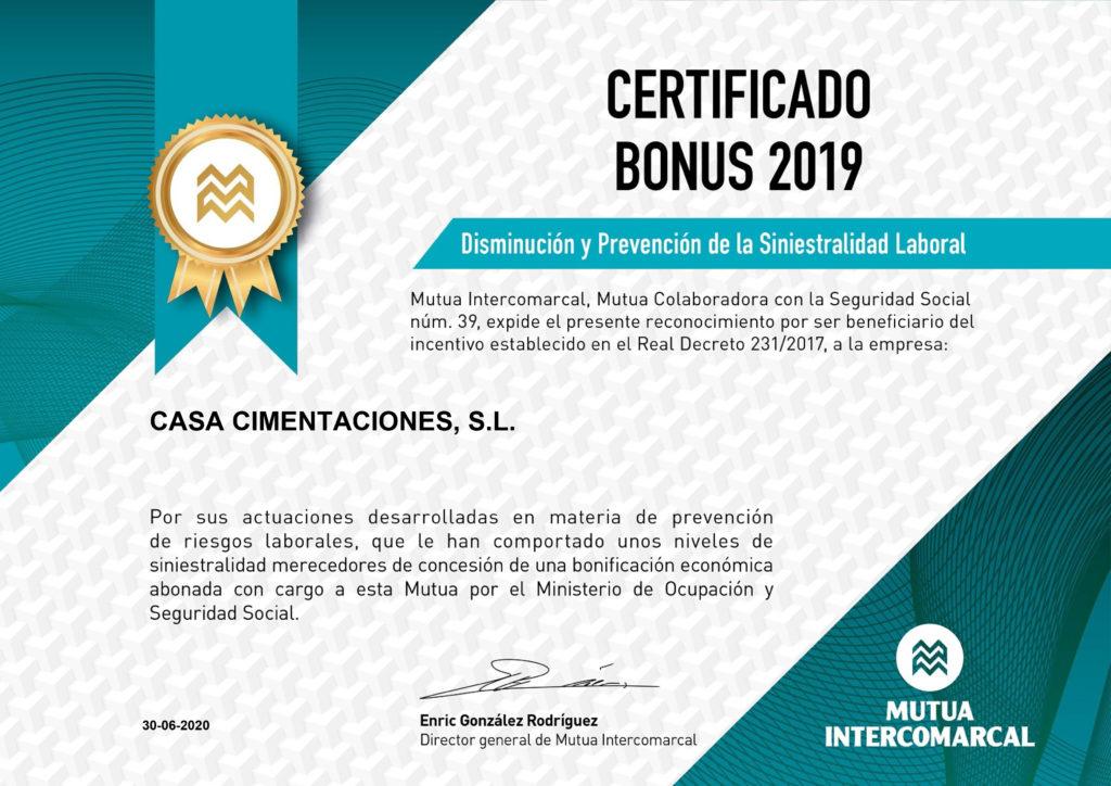 Certificado Bonus Disminución y Prevención de la Siniestralidad Laboral